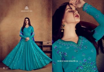 ARIHANT NX RIZWANA VOL 2 HEAVY RAYON EMBROIDERED GOWN  WHOLESALE PRICE (2) JPG