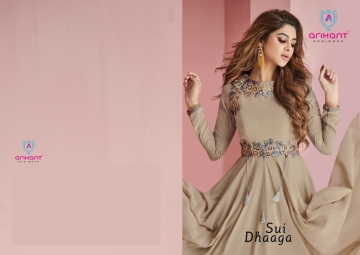 ARIHANT SUI DHAAGA FOX GEORGETTE WITH HEAVY EMBROIDERY ANARKALI KURTIS WHOLESALE PRICE (2)JPG
