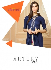 ETERNAL ARTERY VOL-2 COTTON LONG KURTIS WHOLESALE PRICE (1) JPG