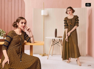 Four-Buttons-Hashtag-Pure-Cotton-Ankle-Length-Gown-Style-Kurti-Collection-1