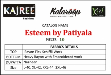 KAJREE ESTEEM BY PATIYALA RAYON DESIGNER EMBROIDERY SALWAR SUITS (6) JPG