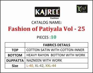KAJREE FASHION OF PATIYALA VOL-25 COTTON SATIN SUITS WITH BOTTOM (12) JPG