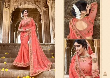 KAVERI KASHVI GEORGETTE RESHAM WORK HEAVY BORDER FANCY BLOUSE PARTY WEAR SAREE WHOLESALE PRICE(3)JPG