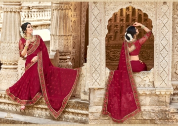 KAVERI KASHVI GEORGETTE RESHAM WORK HEAVY BORDER FANCY BLOUSE PARTY WEAR SAREE WHOLESALE PRICE(4)JPG
