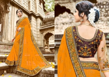 KAVERI KASHVI GEORGETTE RESHAM WORK HEAVY BORDER FANCY BLOUSE PARTY WEAR SAREE WHOLESALE PRICE(5)JPG