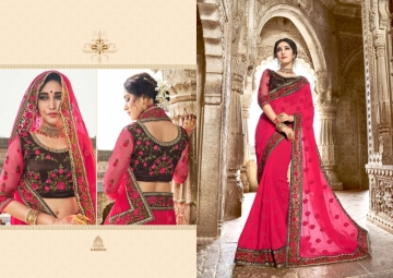 KAVERI KASHVI GEORGETTE RESHAM WORK HEAVY BORDER FANCY BLOUSE PARTY WEAR SAREE WHOLESALE PRICE(6)JPG