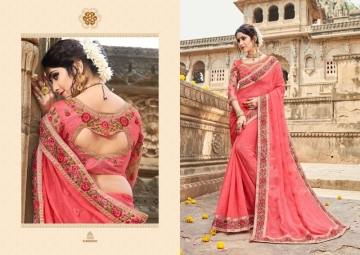 KAVERI KASHVI GEORGETTE RESHAM WORK HEAVY BORDER FANCY BLOUSE PARTY WEAR SAREE WHOLESALE PRICE(7)JPG