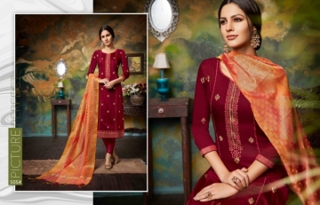 KESSI PARNEETA JAM SILK COTTON WITH FOIL PRINT WITH WORK SALWAR KAMEEZ  WHOLESALE PRICE (4)JPG