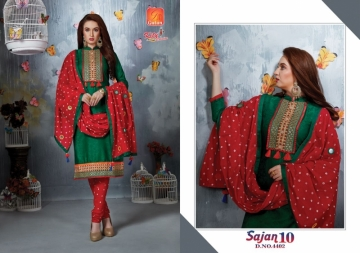 KITY CREATION SAJAN VOL 10 SATIN JACAKRD EMBROIDED DESIGNER SUITS WHOLESALE PRICE(3)JPG