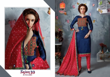 KITY CREATION SAJAN VOL 10 SATIN JACAKRD EMBROIDED DESIGNER SUITS WHOLESALE PRICE(8)JPG