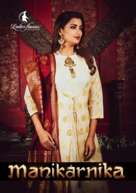 LADIES FLAVOUR MANIKARNIKA CHANDERI COTTON  PARTY WEAR KURTIS WITH DUPATTA WHOLESALE PRICE(01)JPG