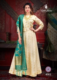 LADIES FLAVOUR MANIKARNIKA CHANDERI COTTON  PARTY WEAR KURTIS WITH DUPATTA WHOLESALE PRICE(5)JPG