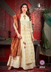 LADIES FLAVOUR MANIKARNIKA CHANDERI COTTON  PARTY WEAR KURTIS WITH DUPATTA WHOLESALE PRICE(7)JPG