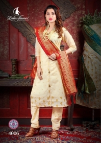 LADIES FLAVOUR MANIKARNIKA CHANDERI COTTON  PARTY WEAR KURTIS WITH DUPATTA WHOLESALE PRICE(8)JPG