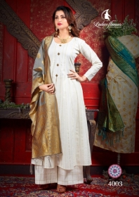 LADIES FLAVOUR MANIKARNIKA CHANDERI COTTON  PARTY WEAR KURTIS WITH DUPATTA WHOLESALE PRICE(9)JPG