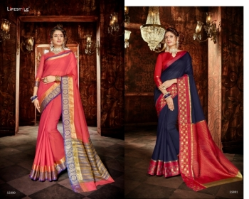 LIFESTYLE KHADI SILK VOL -18  FANCY DESIGNER PARTY WEAR SILK SAREES WHOLESALE PRICE(10)JPG