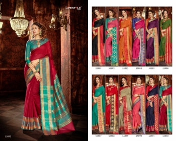 LIFESTYLE KHADI SILK VOL -18  FANCY DESIGNER PARTY WEAR SILK SAREES WHOLESALE PRICE(5)JPG