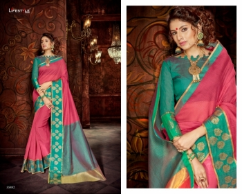 LIFESTYLE KHADI SILK VOL -18  FANCY DESIGNER PARTY WEAR SILK SAREES WHOLESALE PRICE(7)JPG