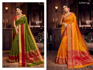 LIFESTYLE KHADI SILK VOL -18  FANCY DESIGNER PARTY WEAR SILK SAREES WHOLESALE PRICE(8)JPG