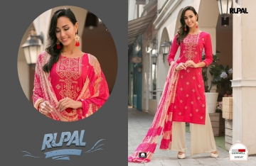 LOOKWELL RUPAL VOL 2 COTTON EMBROIDERY SUITS WITH PALLZO WHOLESALE PRICE (4)JPG