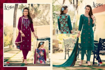 LOOKWELL SARA EMBROIDERY WORK WITH FANCY BACK PRINTED SUITS WHOLESALE PRICE (2) JPG