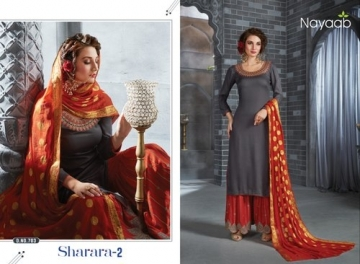 NAYAAB SHARARA-02 RAYON WITH EMBROIDERY PARTY WEAR SUITS WHOLESALE PRICE(01)JPG