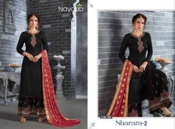 NAYAAB SHARARA-02 RAYON WITH EMBROIDERY PARTY WEAR SUITS WHOLESALE PRICE(4)JPG