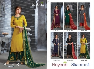 NAYAAB SHARARA-02 RAYON WITH EMBROIDERY PARTY WEAR SUITS WHOLESALE PRICE(5)JPG