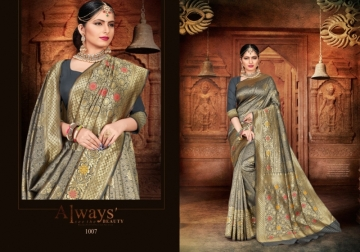 PATANG PRESENTS EXPRESSION SILK DESIGNER PARTY WEAR SAREES (5) JPG
