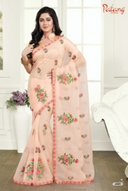 PATANG ROSE PETALS SOFT FEEL ORGANZA FABRIC WITH EXCLUSIVE WORK SAREE WITH BLOUSE SATIN SILK WHOLESALE PRICE(01)JPG