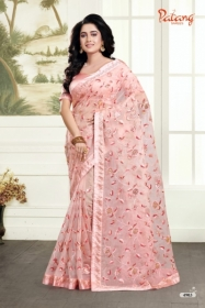 PATANG ROSE PETALS SOFT FEEL ORGANZA FABRIC WITH EXCLUSIVE WORK SAREE WITH BLOUSE SATIN SILK WHOLESALE PRICE(5)JPG