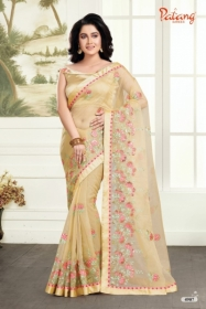 PATANG ROSE PETALS SOFT FEEL ORGANZA FABRIC WITH EXCLUSIVE WORK SAREE WITH BLOUSE SATIN SILK WHOLESALE PRICE(9)JPG