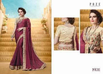 PATANG THE PEARL CHIFFON SILK AND GEORGETTE SAREE WITH BLOUSE PARTY WEAR SAREES WHOLESALE PRICE(12)JPG