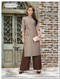 PINK MIRROR MIST COTTON MUSLIN WITH EMBROIDERY KURTI AND BOTTOM (01) JPG