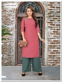 PINK MIRROR MIST COTTON MUSLIN WITH EMBROIDERY KURTI AND BOTTOM (3) JPG