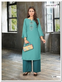 PINK MIRROR MIST COTTON MUSLIN WITH EMBROIDERY KURTI AND BOTTOM (4) JPG