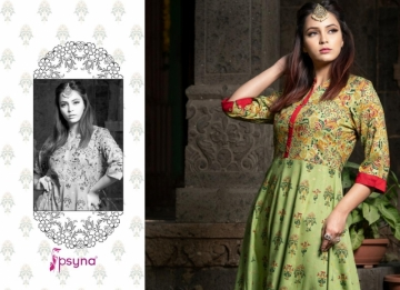 PSYNA PRESENTS PURITY VOL-3 RAYON PRINTED GOWN STYLE KURTI (01) JPG