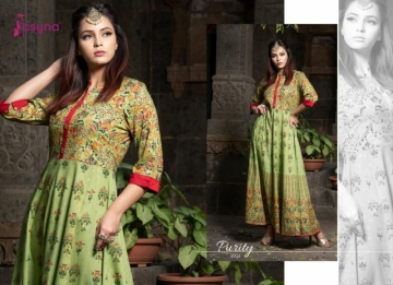 PSYNA PRESENTS PURITY VOL-3 RAYON PRINTED GOWN STYLE KURTI (10) JPG