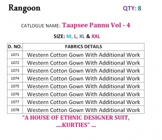 RANGOON TAAPSY PANNU VOL 4 WESTERN COTTON GOWN WHOLESALE PRICE (11) JPG