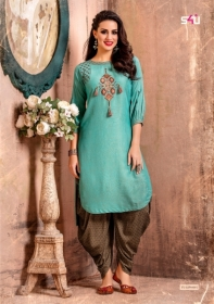 S4U LATEST TULIPS FANCY DESIGNER KURTI WITH PANT WHOLESALE PRICE(4)JPG