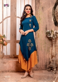 S4U LATEST TULIPS FANCY DESIGNER KURTI WITH PANT WHOLESALE PRICE(3)JPG
