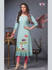 S4U SHIVALI WEEKEND PASSION VOL 3 STOLES WITH EMBROIDERED KURTIS WHOLESALE PRICE(01)JPG