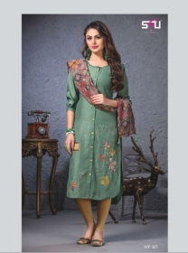 S4U SHIVALI WEEKEND PASSION VOL 3 STOLES WITH EMBROIDERED KURTIS WHOLESALE PRICE(10)JPG