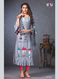S4U SHIVALI WEEKEND PASSION VOL 3 STOLES WITH EMBROIDERED KURTIS WHOLESALE PRICE(11)JPG