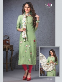 S4U SHIVALI WEEKEND PASSION VOL 3 STOLES WITH EMBROIDERED KURTIS WHOLESALE PRICE(2)JPG