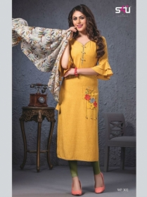 S4U SHIVALI WEEKEND PASSION VOL 3 STOLES WITH EMBROIDERED KURTIS WHOLESALE PRICE(5)JPG