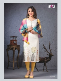 S4U SHIVALI WEEKEND PASSION VOL 3 STOLES WITH EMBROIDERED KURTIS WHOLESALE PRICE(7)JPG