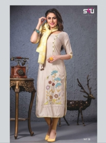 S4U SHIVALI WEEKEND PASSION VOL 3 STOLES WITH EMBROIDERED KURTIS WHOLESALE PRICE(8)JPG