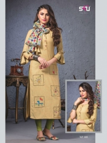 S4U SHIVALI WEEKEND PASSION VOL 3 STOLES WITH EMBROIDERED KURTIS WHOLESALE PRICE(9)JPG