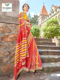 TRIVENI RANG VARSA FANCY SUPER NET PRINTED WITH LACE PARTY WEAR SAREES- 3301 SERIES (1)